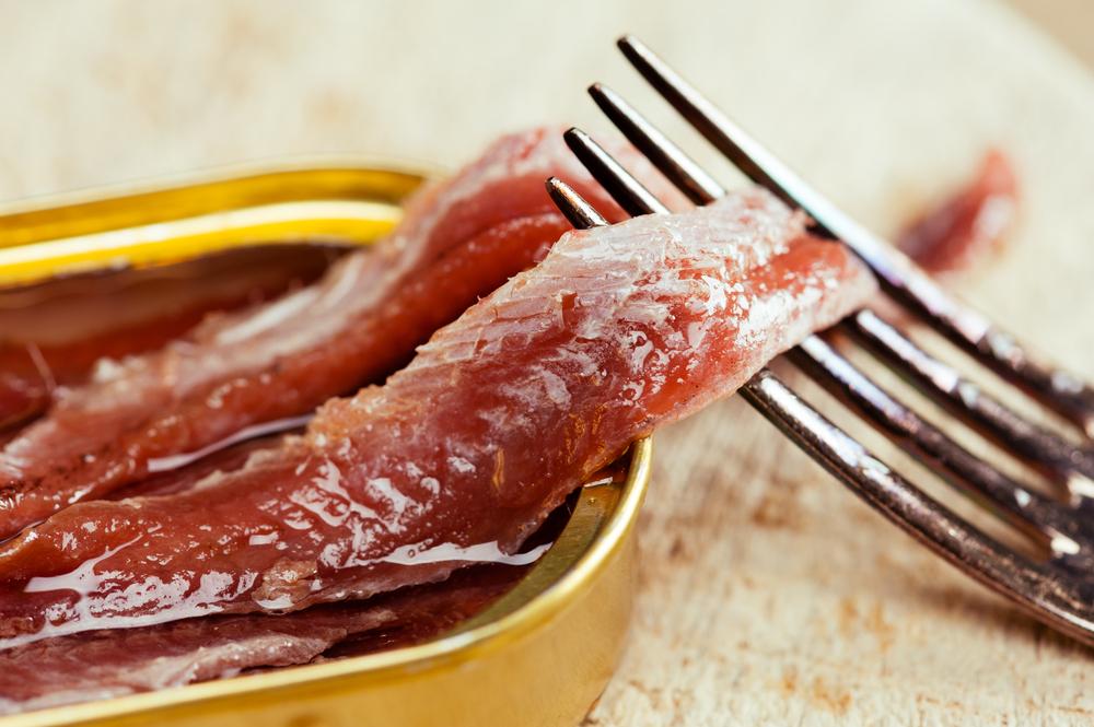 Closeup of anchovies