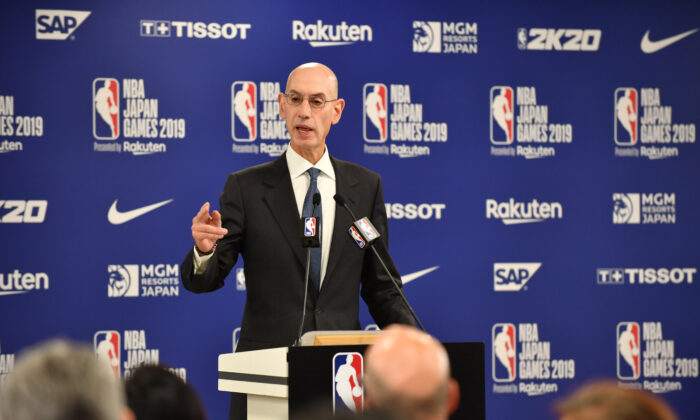 NBA Commissioer Adam Silver speaks during a press conference prior to the NBA Japan Games 2019 between the Toronto Raptors and Houston Rockets in Saitama on October 8, 2019. - The NBA will not regulate the speech of players, employees and owners, the organisation's commissioner said Tuesday after a tweet from a Houston Rockets executive sparked a backlash in China. KAZUHIRO NOGI/AFP via Getty Images