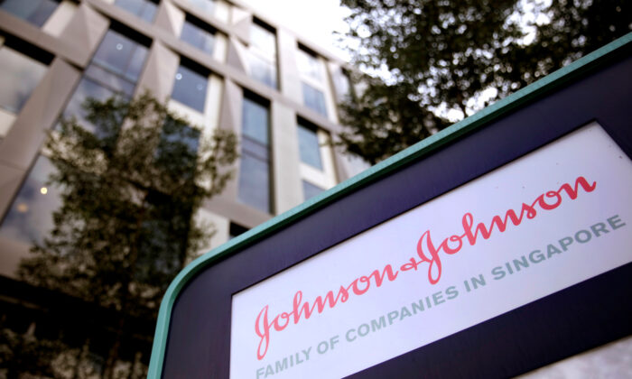 The Johnson and Johnson logo is seen at an office building in Singapore, on Jan. 17, 2018. (Reuters/Thomas White)