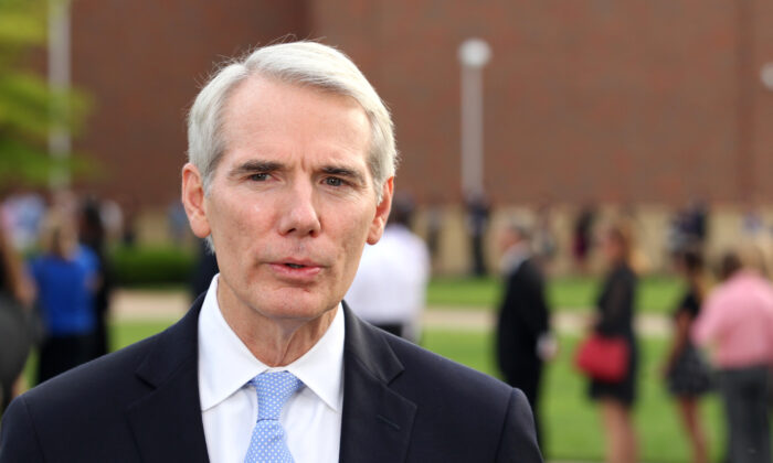Senator Rob Portman (R-Ohio) speaks to reporters outside Wyoming High School in Wyoming, Ohio, on June 22, 2017. (Paul Vernon/AFP/Getty Images)