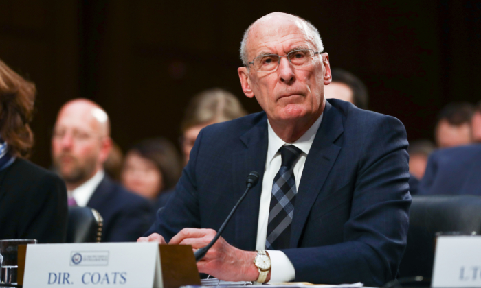 Director of National Intelligence Dan Coats testifies at a hearing in front of the Senate Intelligence Committee in Congress in Washington on Jan. 29, 2019. (Charlotte Cuthbertson/The Epoch Times)