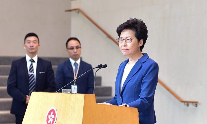 Hong Kong leader Carrie Lam speaks during her weekly press conference in Hong Kong on Oct. 8, 2019. (Bill Cox/The Epoch Times)