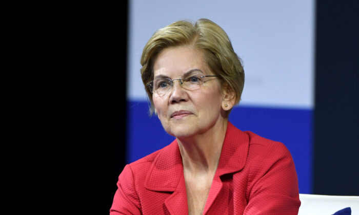 Sen. Elizabeth Warren (D-Mass.), a Democratic presidential candidate, listens to a question from an audience member during the 2020 Gun Safety Forum in Las Vegas, Nevada, on Oct. 2, 2019. (Ethan Miller/Getty Images)