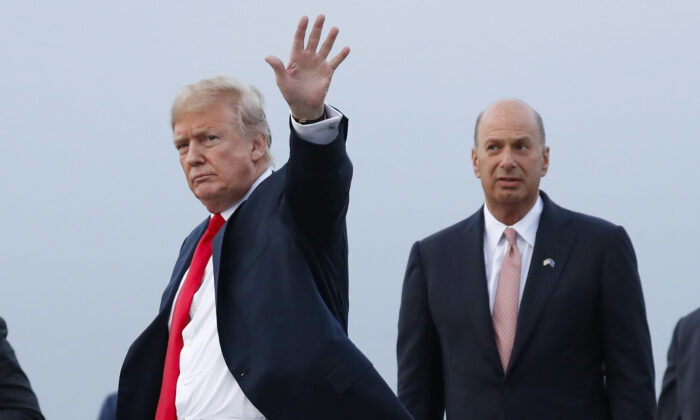 President Donald Trump is joined by Gordon Sondland, the U.S. ambassador to the European Union, as he arrives at Melsbroek Air Base, in Brussels, Belgium on July 10, 2018. (Pablo Martinez Monsivais, File/AP Photo)
