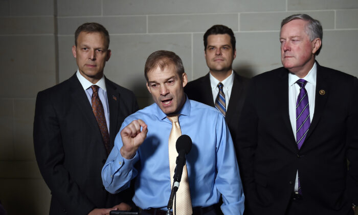 (L-R) Republican lawmakers Rep. Scott Perry (R-Penn.), Rep. Jim Jordan (R-Ohio), Rep. Matt Gaetz, (R-Fla.), and then-Rep. Mark Meadows (R-N.C.), speak to reporters after a closed door meeting with Ambassador Gordon Sondland was cancelled on Capitol Hill in Washington on Oct. 8, 2019. (Olivier Douliery/AFP via Getty Images)
