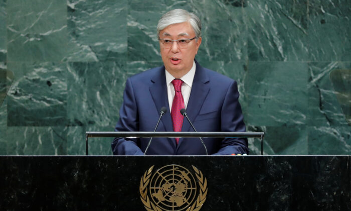 Kazakh President Kassym-Jomart Tokayev addresses the 74th session of the United Nations General Assembly at U.N. headquarters in New York City, U.S. on Sept. 24, 2019. (Eduardo Munoz/Reuters)