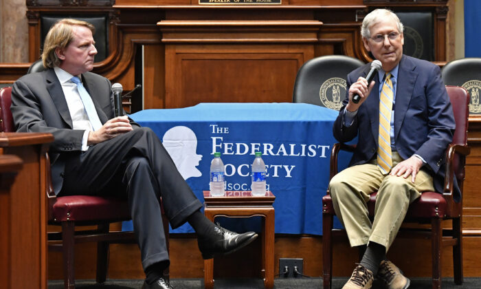 Senate Majority Leader Mitch McConnell (R-Ky.) (R) and former White House counsel Donald McGahn address the Kentucky chapters conference at the Kentucky State Capitol in Frankfort, Ky., on Oct. 7, 2019. (AP Photo/Timothy D. Easley)