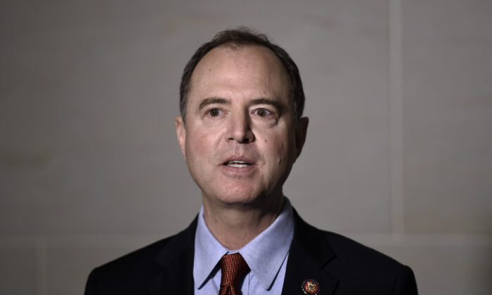 Adam Schiff (D-Calif.), chairman of the House Intelligence Committee, speaks to the media before a closed-door meeting regarding the ongoing impeachment inquiry against President Donald Trump at the U.S.. Capitol in Washington on Oct. 8, 2019. (Photo by Olivier Douliery/AFP via Getty Images)