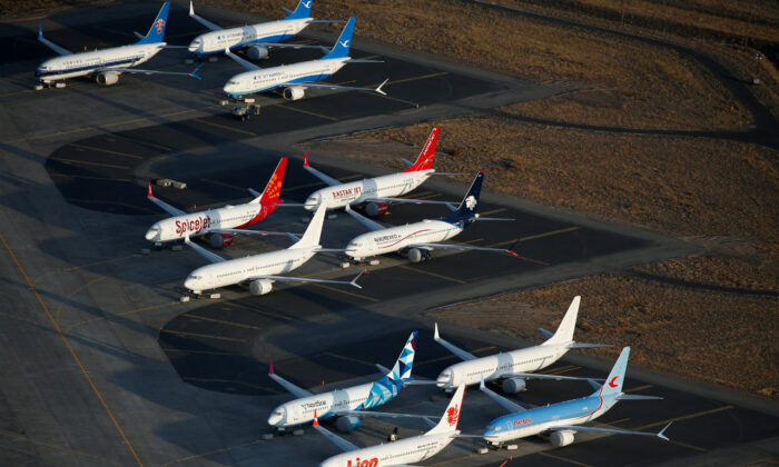 An aerial photo shows Boeing 737 MAX aircraft at Boeing facilities at the Grant County International Airport in Moses Lake, Washington on Sept. 16, 2019. (Lindsey Wasson/Reuters, File Photo)