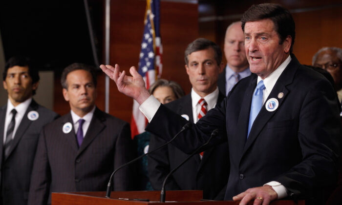 """(R) Rep. John Garamendi (D-Calif.) joins House Democrats to announce their """"Make It In America"""" agenda at the U.S. Capitol in Washington on May 4, 2011. (Chip Somodevilla/Getty Images)"""