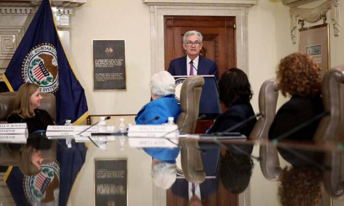 Federal Reserve Board Chairman Jerome Powell delivers remarks at an event at the Federal Reserve headquarters Oct. 4, 2019 in Washington, DC. (Win McNamee/Getty Images)