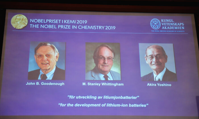 "A screen displays the portraits of the laureates of the 2019 Nobel Prize in Chemistry (L-R) John B. Goodenough, M. Stanley Whittingham, and Akira Yoshino ""for the development of lithium-ion batteries"" during a news conference at the Royal Swedish Academy of Sciences in Stockholm, Sweden on Oct. 9, 2019. (Naina Helen Jama/TT News Agency/via Reuters)"