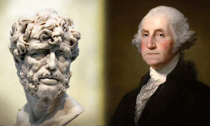 (L) Seneca (Wikimedia Commons | Jean-Pol GRANDMONT); (R) George Washington, 1797 (Wikimedia Commons | Gilbert Stuart)