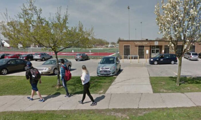 Devan Selvey, 14, has been identified as the teen who was stabbed outside the Sir Winston Churchill Secondary School in Hamilton, Ontario, on Monday. (Google Street View)