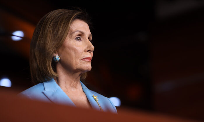 Speaker of the House Nancy Pelosi (D-Calif.) answers a question at the U.S. Capitol in Washington on Oct. 2, 2019. (Win McNamee/Getty Images)