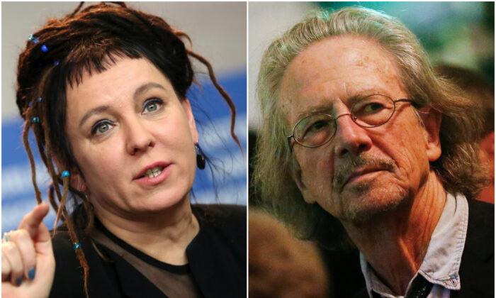 Polish author Olga Tokarczuk (L) and Austrian author and director Peter Handke. (Michele Tantussi/Dominic Ebenbichler/Reuters)