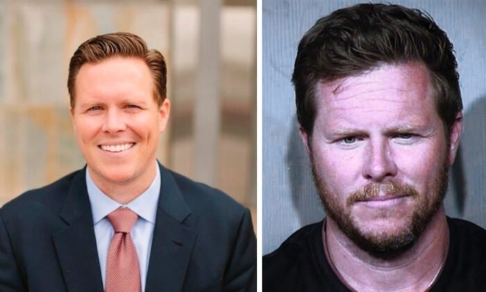 (L) Undated photo of Paul Petersen, provided by Maricopa County Assessor's Office. (R) Undated booking photo provided by the Maricopa County Sheriff's Office. (MCAO/MCSO via AP)