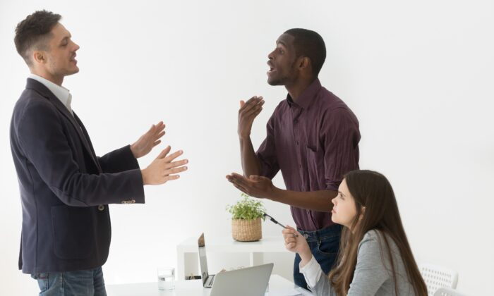 It's easy to get worked up in a conflict, but if you can take a step back and look at it from a less personal perspective, it help ease the emotional uproar. (fizkes/Shutterstock)