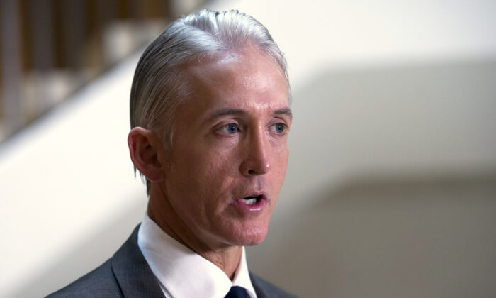 Trey Gowdy  talks with the media on Capitol Hill in Washington, on Sept. 4, 2015. (AP Photo/Cliff Owen, File)