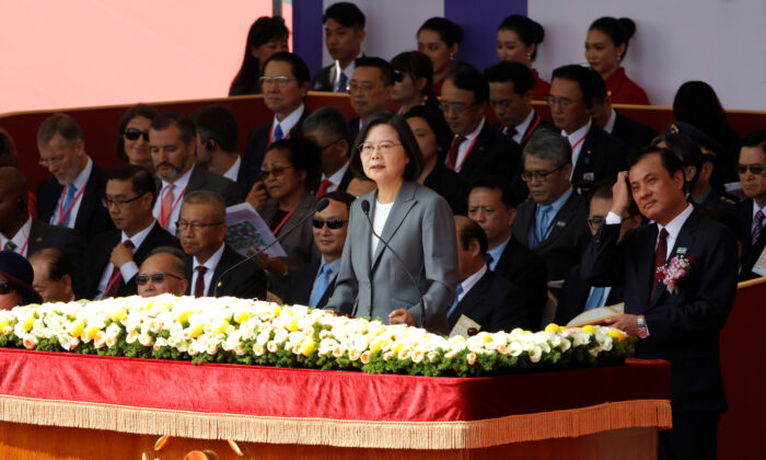 Taiwan's President Tsai Ing-wen speaks during the National Day celebrations in front of the Presidential Palace in Taipei, Taiwan on Oct. 10, 2019. (Eason Lam/Reuters)
