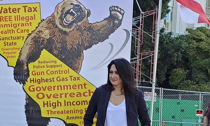 Erin Cruz at a Newsom recall rally in Sacramento on Oct. 5. (Courtesy of Erin Cruz)