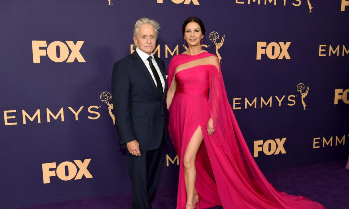 Michael Douglas and Catherine Zeta-Jones attend the 71st Emmy Awards at Microsoft Theater in Los Angeles, California on Sept. 22, 2019. (Photo by Matt Winkelmeyer/Getty Images)
