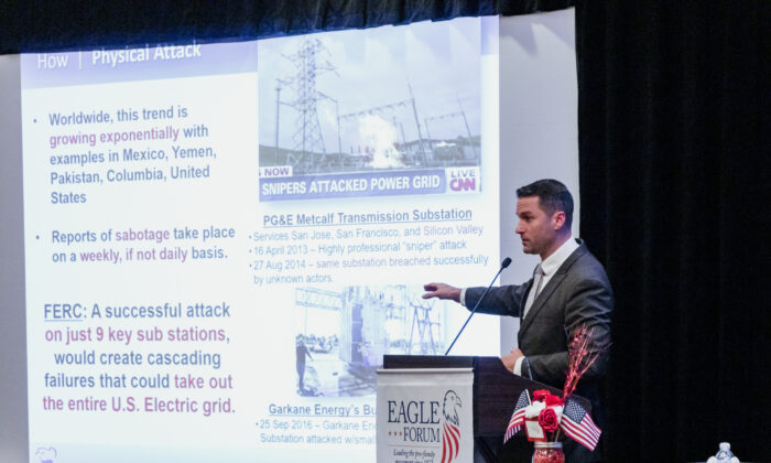 Tommy Waller gives a presentation on the vulnerability of the electric grid to the Eagle Forum in Washington on Sept. 21, 2019. (courtesy Tommy Waller)