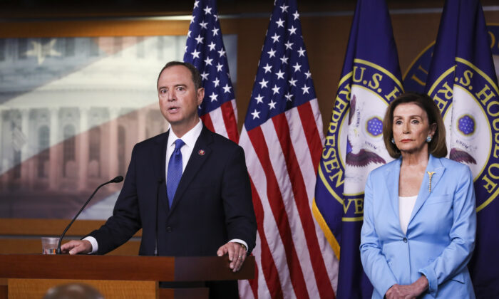 Speaker of the House Nancy Pelosi (D-Calif.), left, and Rep. Adam Schiff (D-Calif.), House intelligence chairman, hold a press conference about the impeachment inquiry of President Trump, at the Capitol in Washington on Oct. 2, 2019. (Charlotte Cuthbertson/The Epoch Times)