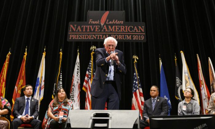 Democratic presidential candidate Sen. Bernie Sanders (I-VT) speaks at the Frank LaMere Native American Presidential Forum on Aug. 20, 2019 in Sioux City, Iowa. (Stephen Maturen/Getty Images)