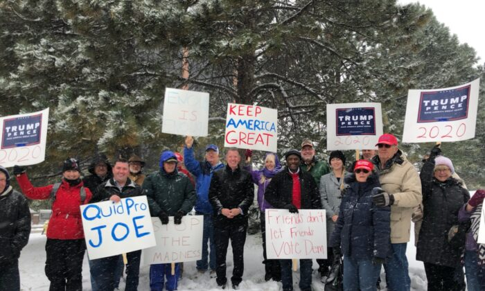 Tea Party Patriots gather outside the district office or Rep. Jason Crow in Aurora, Col. on Oct. 10, 2019. (Courtesy Tea Party Patriots)