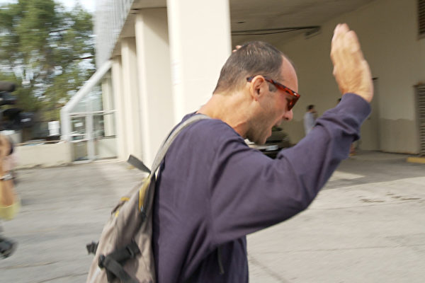Fabio Guerrieri, who was arrested for allegedly sabotaging The Epoch Times newspaper boxes, outside the Ontario Court of Justice in North York, Ont., on Aug. 26, 2019. (NTD Television)