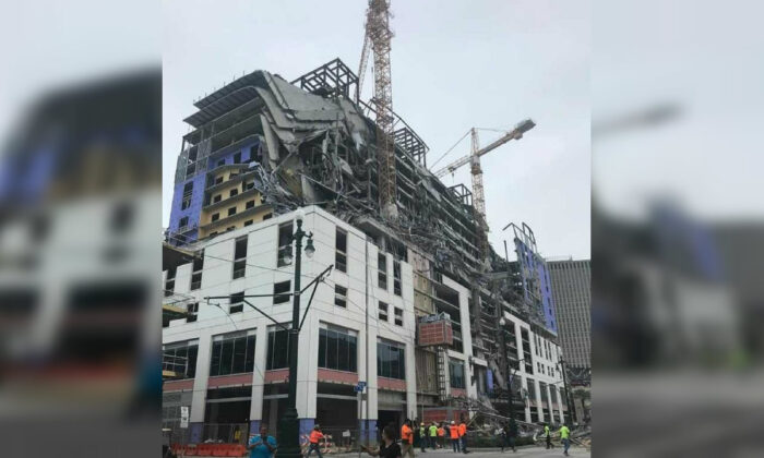 The Hard Rock Hotel, which was under construction, after a fatal partial collapse in New Orleans, La., on Oct. 12, 2019. (Courtesy of WDSU)