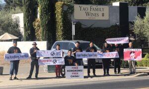 Chinese-Americans Demonstrate for Hong Kong at NBA Star Yao Ming's California Vineyard