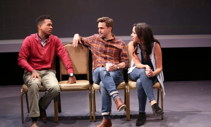 "The cast of ""The White Chip"": Steven (Joe Tapper) surrounded by (L–R) Genesis Oliver and Finnerty Steeves, who both play multiple roles. The story revolves around an alcoholic drying out. (Carol Rosegg)"
