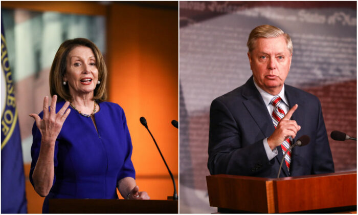 House Speaker Rep. Nancy Pelosi (D-Calif.) and Sen. Lindsey Graham (R-S.C.).(Charlotte Cuthbertson/The Epoch Times)