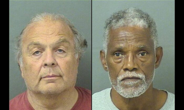 Thomas Fucarile (L) and Lavoris Grisby (R) were arrested and charged for allegedly dumping sewage into manholes three times, in West Palm Beach, Florida. (Palm Beach County Sheriff's Office)