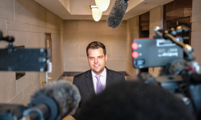 Rep. Matt Gaetz (R-Fla.), speaks to members of the media on Capitol Hill in Washington on Oct. 14, 2019. (Photo by Alex Wroblewski/Getty Images)
