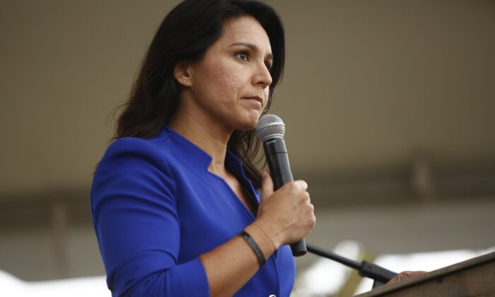 Rep. Tulsi Gabbard (D-Hawaii) addresses the crowd at the Blue Jamboree in North Charleston, S.C., on Oct. 5, 2019. (Brian Blanco/Getty Images)