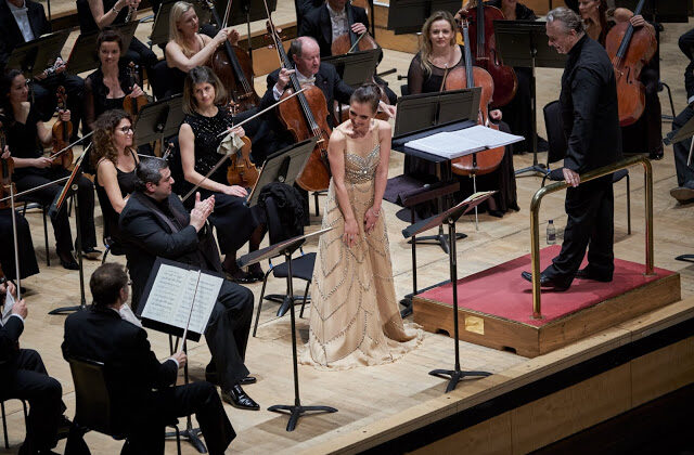 """Ermonela Jaho and Sir Mark Elder with the London Philharmonic Orchestra perform Puccini's """"Le Willis"""" in November 2018 (Russell Duncan)"""