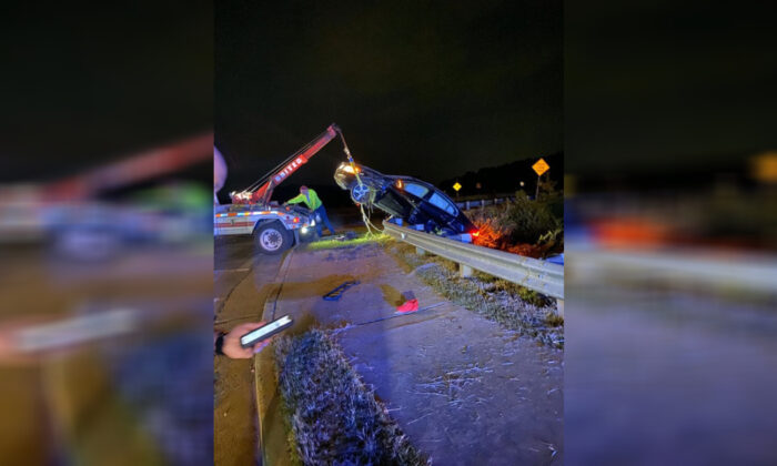 A crashed Volvo in Alpharetta, Ga., on Oct. 12, 2019. (Alpharetta Department of Public Safety)