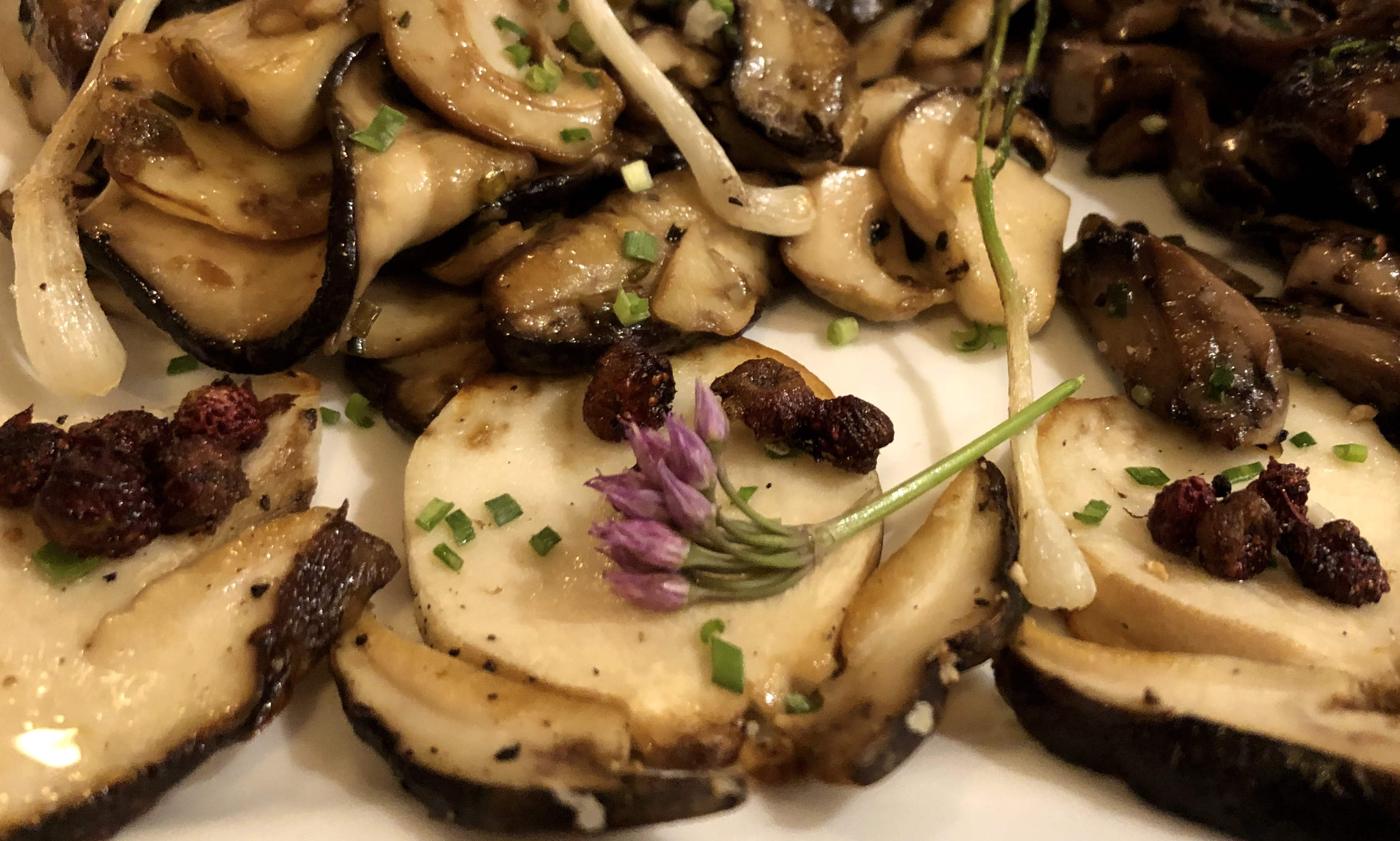 Chef Jose Zamora at The West End Bistro prepares our foraged mushrooms with a small amount of EVOO