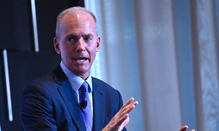 Boeing CEO Dennis Muilenburg speaks at the Economic Club of New York's on October 2, 2019  in New York City. (Johannes Eisele/ AFP via Getty Images)