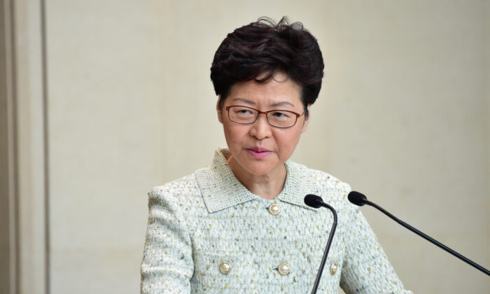 Hong Kong leader Carrie Lam takes part in her weekly press conference in Hong Kong on Oct. 15, 2019. (Bill Cox/The Epoch Times)