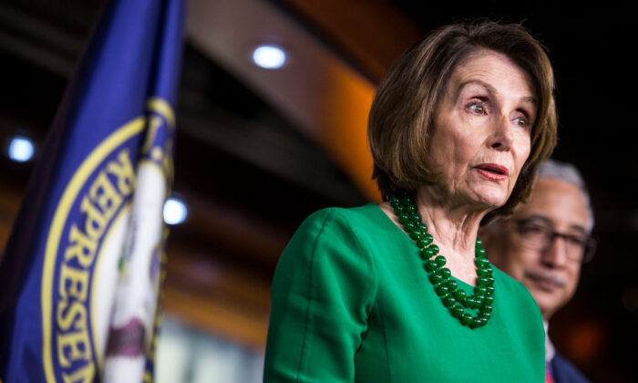 House Speaker Nancy Pelosi (D-CA) speaks during a news conference in Washington, on Oct. 15, 2019. (Zach Gibson/Getty Images)