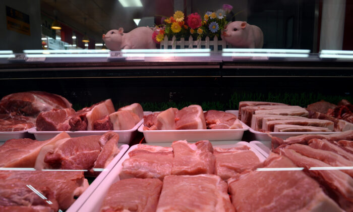 Pork for sale is seen at a Walmart in Beijing, China on Sept. 23, 2019. (Tingshu Wang/Reuters)