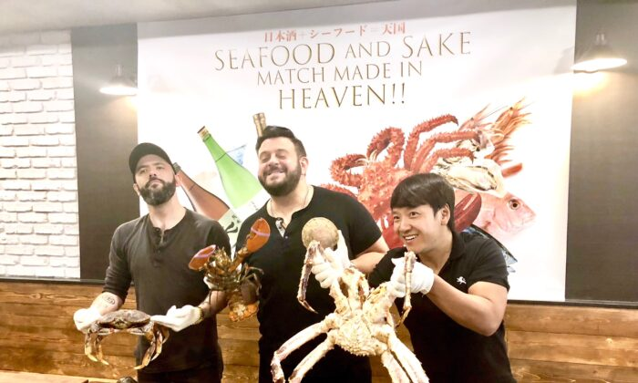 """(From L to R) Andrew Rea, Adam Richman, and Mike Chen at the """"Seafood and Sake, Match Made in Heaven"""" event in New York City."""