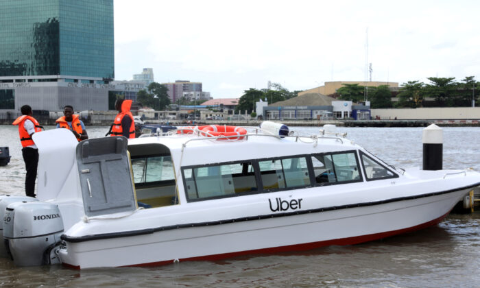 A boat is seen at the five cowries terminal as Uber launches boat service in Lagos, Nigeria Oct. 11, 2019. (Temilade Adelaja/Reuters)