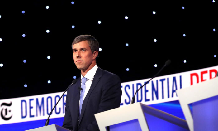 Former Texas congressman Beto O'Rourke looks on during a break at the Democratic Presidential Debate at Otterbein University in Westerville, Ohio, on Oct. 15, 2019. (Win McNamee/Getty Images)