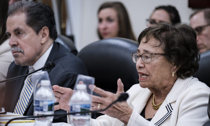 Committee Chairwoman Nita Lowey (D-NY) and Census Bureau Director Steven Dillingham in Washington on April 30, 2019. (Pete Marovich/Getty Images)