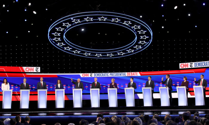 Democratic presidential candidates on stage at Otterbein University in Ohio on Oct. 15, 2019. (Win McNamee/Getty Images)